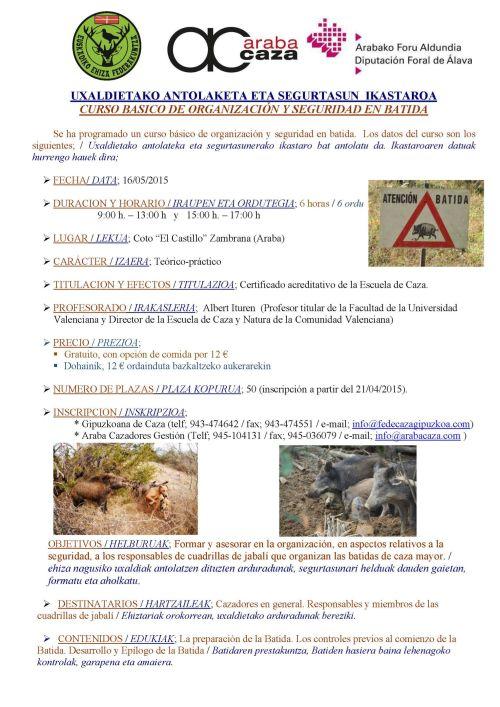 CARTEL CURSO BASICO DE ORGANIZACION Y SEGURIDAD EN BATI 2015